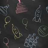 Seamless vector wallpaper with the image of balloon, rocket, ball, castle, cake Stock Photos