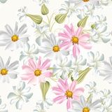 Seamless vector wallpaper pattern with   flowers Royalty Free Stock Photos