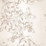 Seamless vector wallpaper pattern with swirl floral element and Royalty Free Stock Images