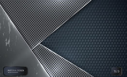 Seamless vector wallpaper of perforated gray metal plate. Stock Image