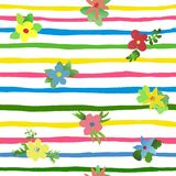 Seamless vector watercolor strips and flowers stock illustration
