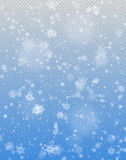 Seamless vector white snowfall effect on blue transparent background transparency in additional format only Stock Photo