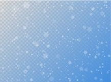 Seamless vector white snowfall effect on blue transparent horizontal background. Overlay snow flake Christmas or New Year winter Stock Photo