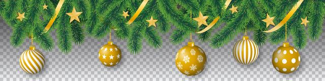Seamless vector coniferous tree branches with needle leaves, stars, ribbons and hanging christmas bulbs on transparent background. Seamless vector winter vector illustration