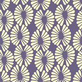 Seamless vector yellow and lilac pattern with retro flowers. For fabric, textile, wrapping, craft Stock Image