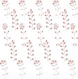 Seamless vegetable pattern. Red gradient abstract flowers and leaves on white, black contours Royalty Free Stock Photo