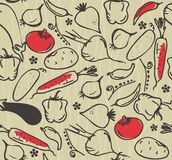 Seamless vegetable pattern in vector Stock Images
