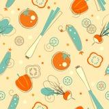 Seamless vegetables background Stock Photos