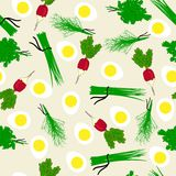 Seamless vegetables garden radish illustration Stock Photos