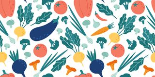 Seamless vegetables pattern. Hand drawn doodle vegetarian food. Vegetable kitchen radish, vegan beets and tomato vector royalty free illustration
