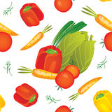 Seamless vegetables pattern illustration. Seamless pattern illustration background for your kitchen with small vegetables compositions: pepper, tomato, dill royalty free illustration