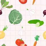 Seamless vegetables pattern. Vector illustration Royalty Free Stock Photography