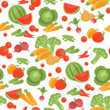 Seamless vegetarian vector pattern on white background. Seamless vegetarian vector pattern with different vegetables Royalty Free Stock Photo