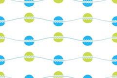 seamless vektor för abstrakt modell Vågor med hand dragen cirklar och sicksackbakgrund Royaltyfri Fotografi