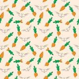 seamless vektor för bakgrund Morötterna och kaninen Arkivbild