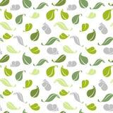 seamless vektor för dekorativ illustrationmodell green leaves också vektor för coreldrawillustration stock illustrationer