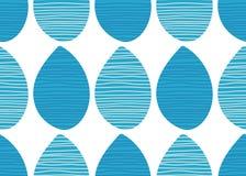 seamless vektor för modell Abstrakt blått vatten tappar med handen drog linjer på vit bakgrund Randig tygprydnad Arkivbild