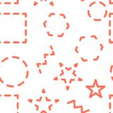 seamless vektor för modell Abstrakt geometrisk bakgrund med olika geometriska former - trianglar, cirklar, prickar, linjer stock illustrationer