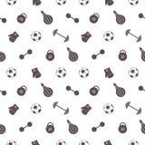 seamless vektor för modell Bakgrund med grå sportutrustning Fotbollboll som stansar påsen, handskar, skivstånger, hantlar och vik Royaltyfri Foto
