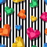 seamless vektor för modell Flerfärgad juvel, ädelstenar i hjärtaform på svarta vita band Royaltyfri Bild