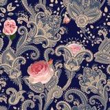 seamless vektor för modell Indisk blom- bakgrund paisley kvinna för stil för blåtiraframsidamode sexig Design för tyg ro Provence stock illustrationer