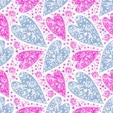 seamless vektor för modell Kaotisk bakgrund med blåa för closeup dekorativa och rosa hjärtor Royaltyfri Foto