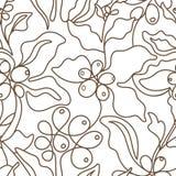 seamless vektor för modell Konstlinje av kaffeträdet vektor illustrationer