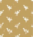 seamless vektor för modell linocutstil med vita fåglar Vektorgrungedesign för kort, tapeter och bakgrunder stock illustrationer