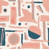 seamless vektor för modell Sönderrivet papper dekorerade målarfärg- och färgpulverfläckar Olika former med grova ribbade och ojäm royaltyfri bild