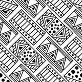 seamless vektor för modell Svartvit geometrisk bakgrund med hand drog dekorativa stam- beståndsdelar Tryck med person som tillhör Royaltyfri Fotografi
