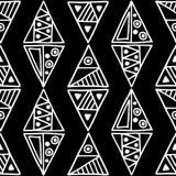 seamless vektor för modell Svartvit geometrisk bakgrund med hand drog dekorativa stam- beståndsdelar Tryck med person som tillhör vektor illustrationer
