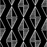 seamless vektor för modell Svartvit geometrisk bakgrund med hand drog dekorativa stam- beståndsdelar Tryck med person som tillhör Fotografering för Bildbyråer