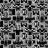 seamless vektor för modell Svartvit geometrisk bakgrund med hand drog dekorativa stam- beståndsdelar Tryck med person som tillhör stock illustrationer