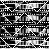 seamless vektor för modell Svartvit geometrisk bakgrund med hand drog dekorativa stam- beståndsdelar Tryck med person som tillhör Arkivfoto