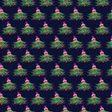 seamless vektor för modell Symmetrisk grön bakgrund för säsongsbetonad vinter med gran-träd som dekoreras med julleksaker och hat Arkivbilder