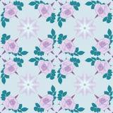 seamless vektor för modell Violetta rosor på ljus - blå bakgrund med geometrisk garnering stock illustrationer