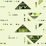 seamless vektor f?r modell geometrisk bakgrund med utdragna dekorativa stam- best?ndsdelar f?r hand Tryck med etniskt, folk, trad royaltyfri illustrationer