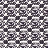 seamless vektor f?r modell Linocut sexhörniga täckeformer Upprepa geometrisk tegelplattabakgrund Monokrom yttersidadesigntextil vektor illustrationer