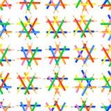 seamless vektor f?r modell Sexhörniga former som skapas från vässade kulöra blyertspennor royaltyfri illustrationer