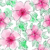 seamless vektor för blom- modell Blommamodellen med rosa färger blommar på vit bakgrund Vattenfärgefterföljd och färgpulver Royaltyfria Bilder