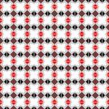 seamless vektor för modell Symmetrisk geometrisk abstrakt bakgrund med fyrkanter, rektanglar och linjer i svart, vit, rött c Arkivfoto