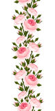Seamless vertical border with pink roses. Vector illustration. Royalty Free Stock Photos