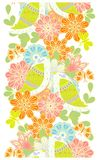 Seamless vertical colorful bright pattern with flowers and birds Stock Images