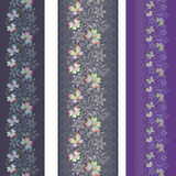 Seamless vertical lace pattern with butterflies. Vector set of 3. Royalty Free Stock Images