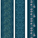 Seamless vertical lace pattern with butterflies. Vector set of 3. Stock Photos