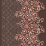 Seamless vertical lace  pattern with  paisley and flowers. Vector background. Royalty Free Stock Photography