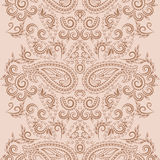 Seamless vertical lace pattern with paisley. Vector background. Stock Photography