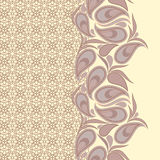 Seamless vertical lace pattern with  paisley. Vector background. Royalty Free Stock Images
