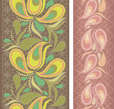 Seamless vertical lace pattern with paisley. Vector set of 2. Royalty Free Stock Photography