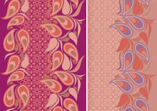 Seamless vertical lace pattern with paisley. Vector set of 2. Stock Images